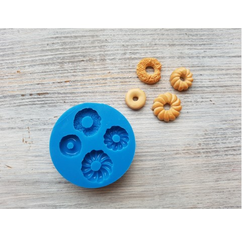 """Silicone mold, cookie set """"donuts"""", 4 pcs., ~ 1.3-1.9 cm"""