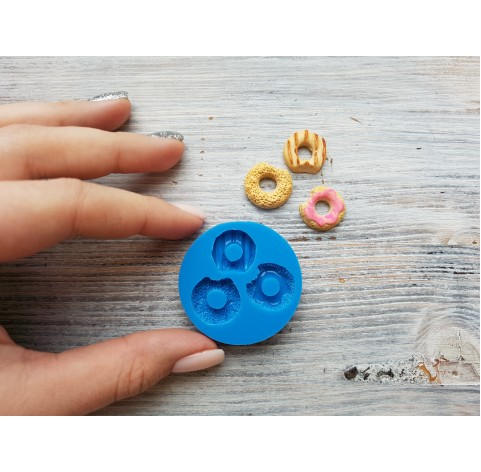"""Silicone mold, cookie set """"bitten donuts"""", 3 pcs., ~ 1.6-1.8 cm"""