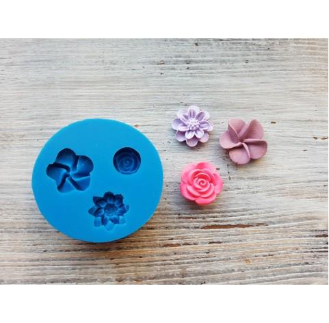 Silicone mold, three flowers, ~ 1.9-2.2 cm