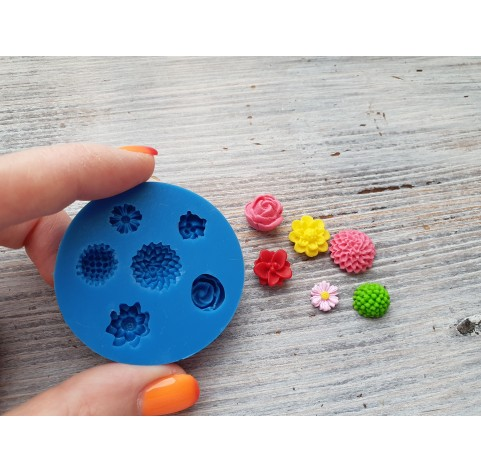 Silicone mold, small flowers, 6 pcs., ~ 0.7-1.2 cm