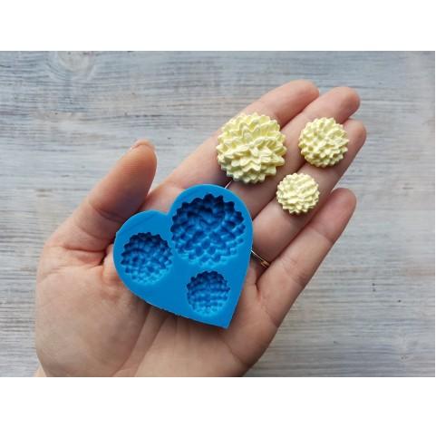 Silicone mold, hydrangea flowers, artificial, 3 pcs., ~ 1.7-2.8 cm