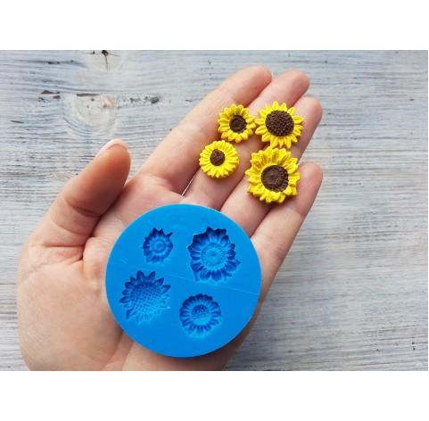 Silicone mold, sunflowers, 4 pcs., ~ Ø 1.2-2.3 cm