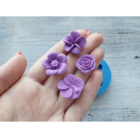 Silicone mold, flowers, 4 pcs., ~ 1.7-2.2 cm
