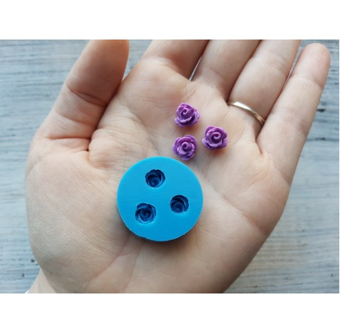 Silicone mold, small roses, 3 pcs., ~ Ø 0.9 cm