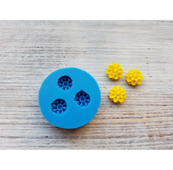Silicone mold, dahlia flowers, artificial, small, 3 pcs., ~ Ø 1.3 cm