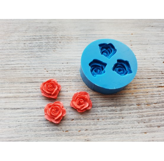 Silicone mold, roses, 3 pcs., ~ Ø 1.4 cm