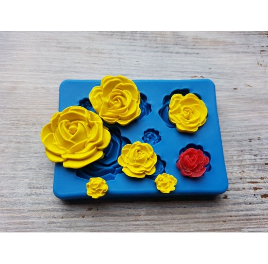 Silicone mold, roses, different sizes, 7 pcs., ~ 0.9-3 cm