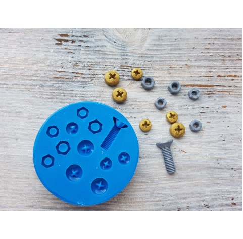 Silicone mold, screw and nut caps, ~ 2*1 cm, ~ 0.7-0.9 cm