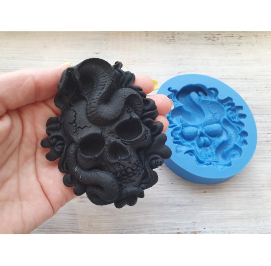 Silicone mold, skull with a snake, ~ 7.5*9 cm