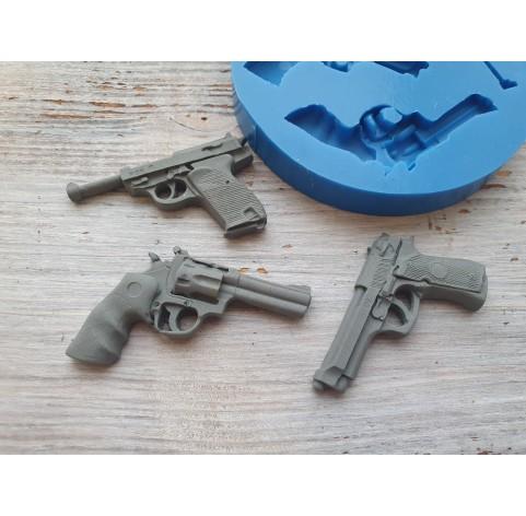 Silicone mold, pistols, 3 pcs., ~ 2.5-4.3 cm