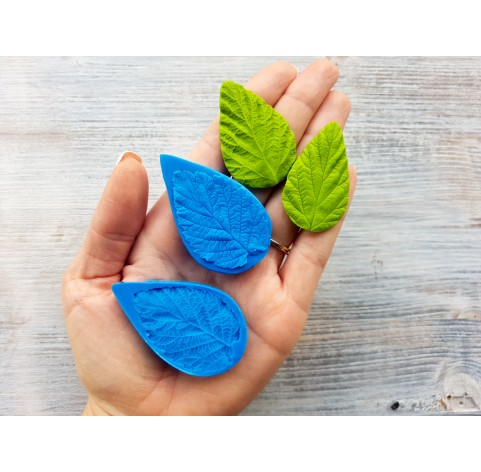 Silicone mold, raspberry leaf, large, (mold size) ~ 3.3*5.6 cm