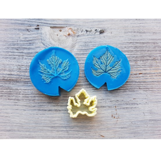 Silicone mold, grape leaves and veiner, small, 2 elements, (mold size) ~ Ø 3.9 cm