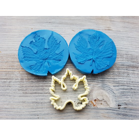 Silicone mold, grape leaves and veiner, large, 2 elements, (mold size) ~ Ø 5.9 cm