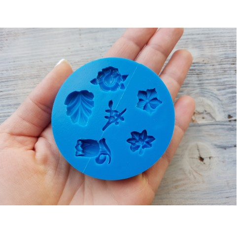 Silicone mold, leaves and flowers, 6 types, ~ 1.5-2.1 cm
