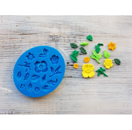 Silicone mold, flowers and leaves, 15 types (poppies, narcissus, rose bud, lilac), ~ 0.8-2.5 cm