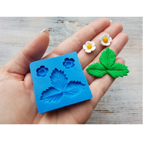 Silicone mold, strawberry leaf and two flowers, ~ 4.2*3.2 cm, ~ Ø 1.2 cm