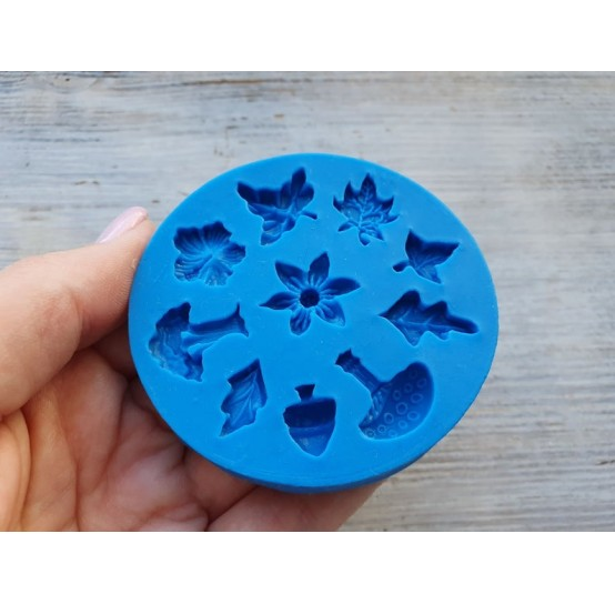 Silicone mold, leaves and mushrooms, 10 pcs., ~ 1-1.8 cm