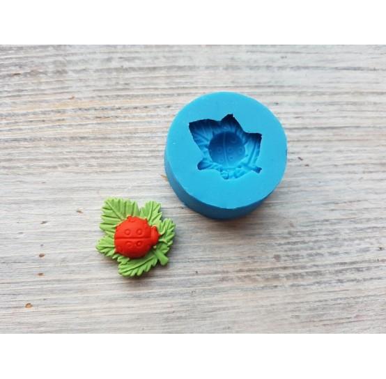 Silicone mold, ladybug on a leaf, ~ 2.4*2 cm, ~ Ø 1.1 cm