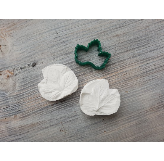 Currant leaf, silicone mold and cutter, ~ 3.5*3.9 cm, ~ 3.4 cm