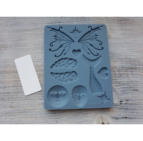 """Sculpey silicone mold for plastic, """"Whimsy"""", 9.5*12.4 cm + squeegee"""