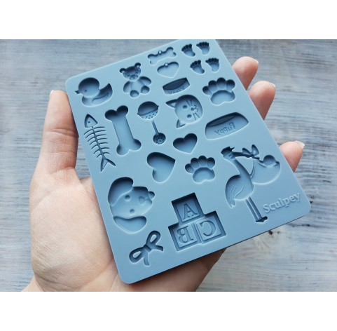 """Sculpey silicone mold for plastic, """"Pet/Baby"""", 9.5*12.4 cm + squeegee"""
