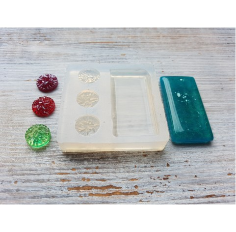 Silicone molds for epoxy, rectangle and three flowers, ~ 4.7*2.4 and 1.3 cm
