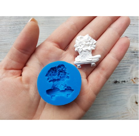 Silicone mold, flowers in a pot, ~ 2.6*3.1 cm