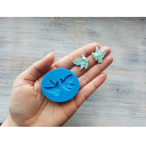 Silicone mold, two flying pigeons, ~ 2.3*2.3 cm