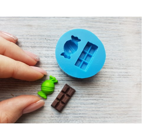 Silicone mold, candy with ribbon and chocolate, ~ 1-2.3 cm