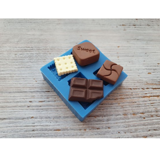 Silicone mold, pieces of chocolate and cookie, ~ 1.5-2.4 cm