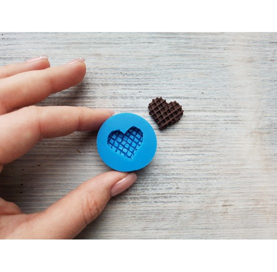 Silicone mold, big waffle, heart, ~ 2 cm