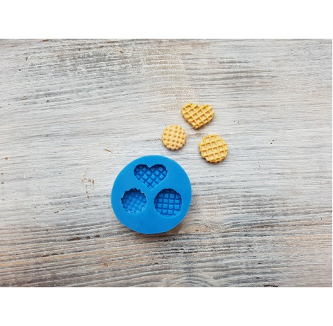 Silicone mold, set of cookies and waffles, 3 pcs., ~ 1.2-1.6 cm