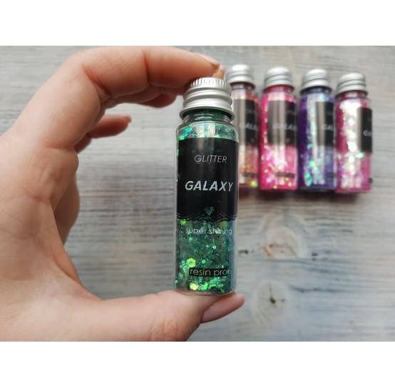 Pigment GLITTER GALAXY with sequins, dark green, 25 gr