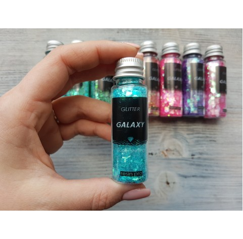 Pigment GLITTER GALAXY with sequins, turquoise blue, 25 gr