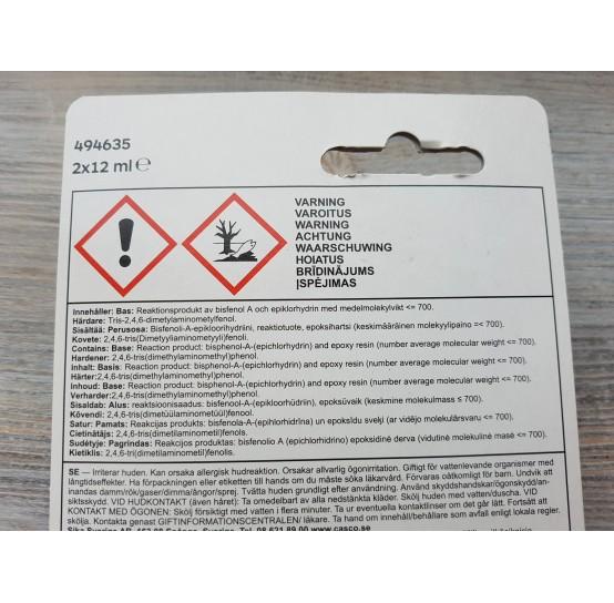 Fast-curing crystal clear epoxy glue, 2*12 ml