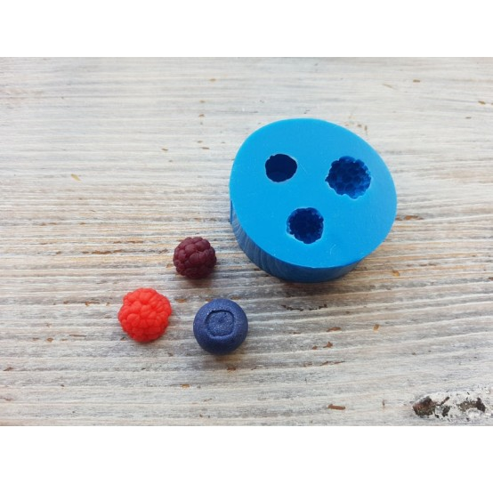 Silicone mold 3 small berries - raspberry, blackberry, blueberry, ~ Ø 1-1.2 cm