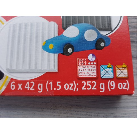 FIMO Kids oven-bake polymer clay, pack of 6 basic colours, 252 gr