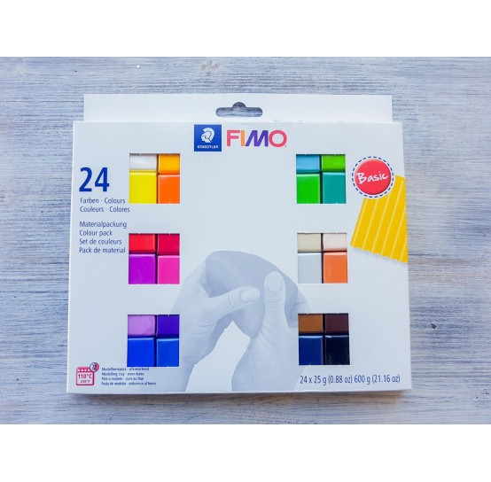 FIMO Soft Basic oven-bake polymer clay, pack of 24 colours, 600 gr