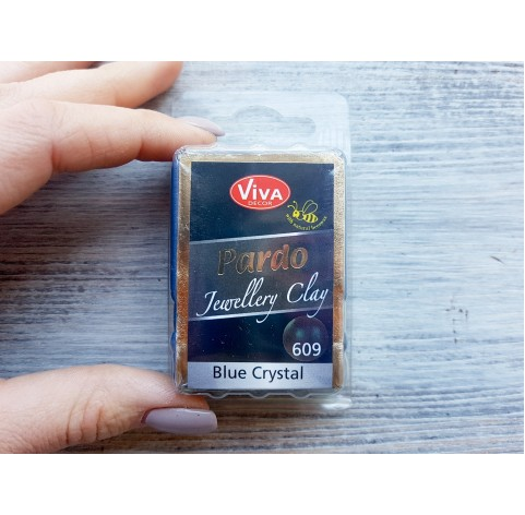 Pardo Jewelry and Art oven-bake polymer clay, blue crystal, Nr. 609, 56 gr