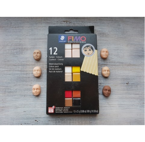 FIMO Professional Doll Art oven-bake polymer clay, pack of 12 colours, 300 gr
