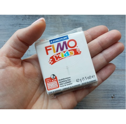FIMO Kids oven-bake polymer clay, white, Nr. 0, 42 gr