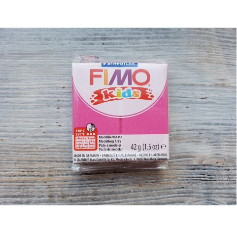 FIMO Kids oven-bake polymer clay, glitter fuchsia, Nr. 262, 42 gr