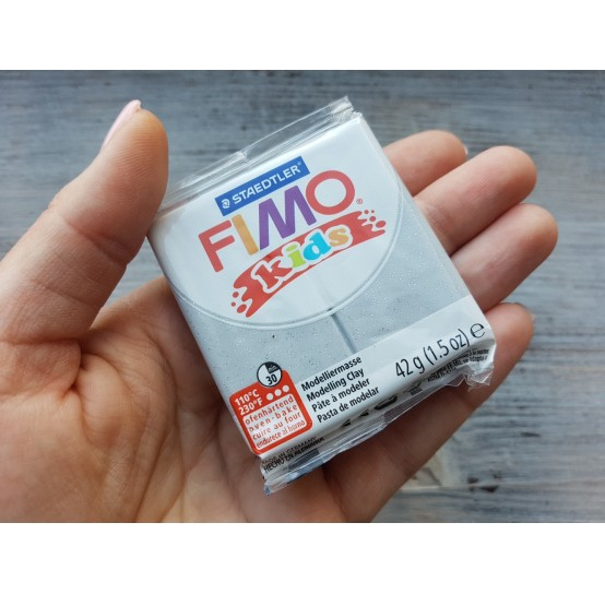 FIMO Kids oven-bake polymer clay, glitter silver, Nr. 812, 42 gr