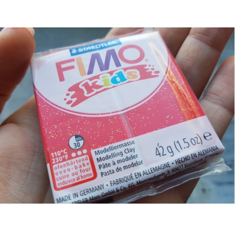 FIMO Kids oven-bake polymer clay, glitter red, Nr. 212, 42 gr
