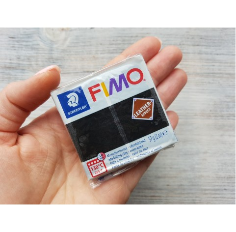 FIMO Leather oven-bake polymer clay, black, Nr. 909, 57 gr