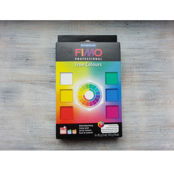 FIMO Professional oven-bake polymer clay, pack of 6 colours, 510 gr