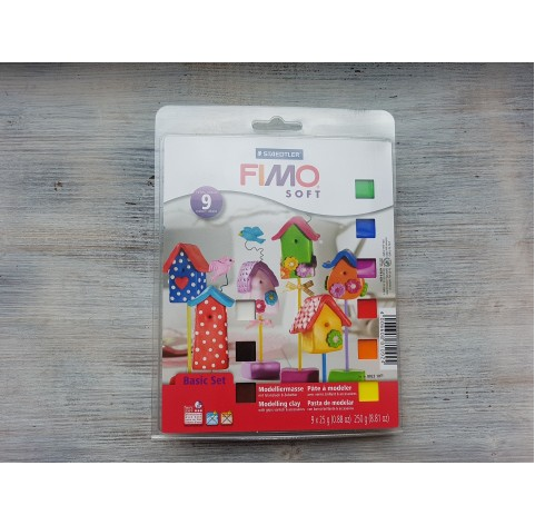 FIMO Soft oven-bake polymer clay, starter kit of 9 colours with varnish and tool, 250 gr