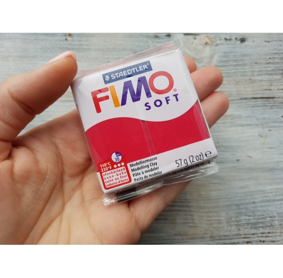 FIMO Soft oven-bake polymer, cherry red, Nr. 26, 57 gr