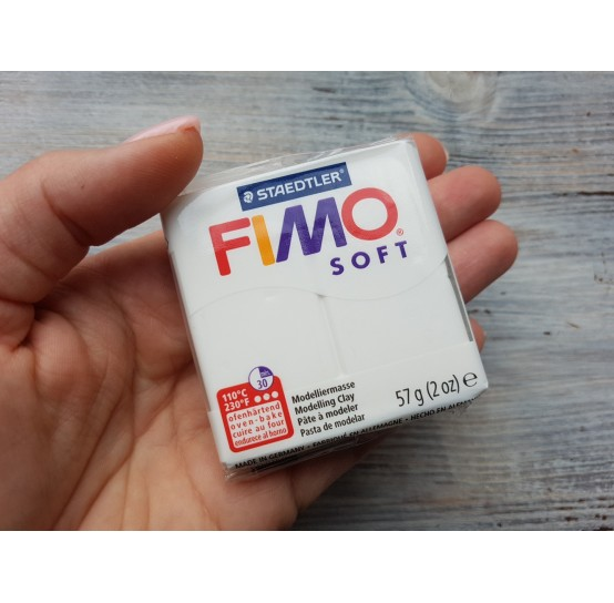 FIMO Soft oven-bake polymer clay, white, Nr. 0, 57 gr