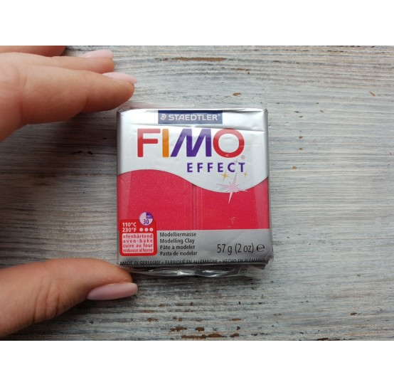 FIMO Effect oven-bake polymer clay, ruby red (metallic), Nr. 28, 57 gr